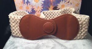 Gypsy-Hippy-Boho-Ivory-Weave-Crochet-Tan-Faux-Leather-Peasant-Clinch-Belt