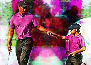 2021 Tiger & Charlie Woods Golf Professional 17/25 Art Print Card By:Q