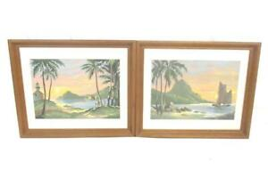 Lot of 2 Sunset Beach Paintings Framed Sail Boat Trees 19 X 16 Inches No Glass