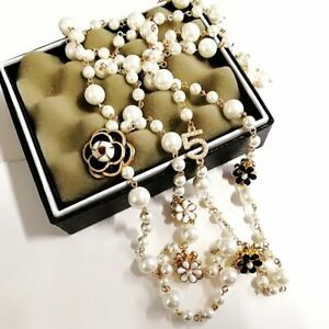 Simulated-Pearl-Long-Necklace-Double-Layer-Pendant-No-5-Imitation-Fake-Jewel