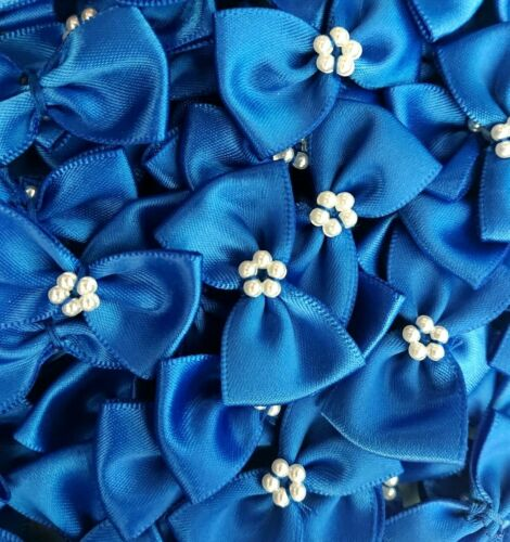 Paquete De 10-Royal Blue 3.5cm Cinta de Raso Ready Made Mini y arcos Perla Craft