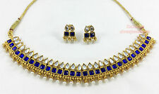 Designer Gold Plated Stones Diamond Kundan Necklace Earring Ethnic Jewellery Set