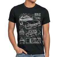 Ecto-1 Blaupause Herren T-shirt Busters Geisterjäger Ghost Slimer Geist Auto Car