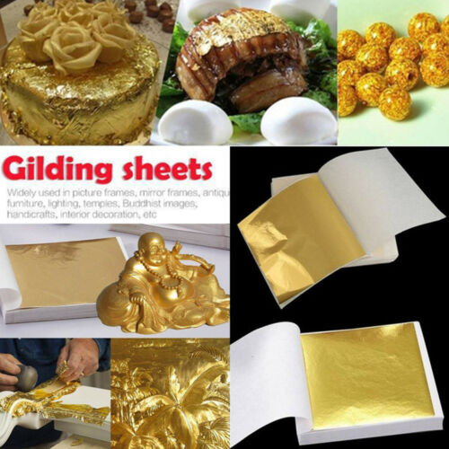 100Pcs//Set Gold DIY Foil Leaf Paper Food Cake Decor Edible Gilding Craft