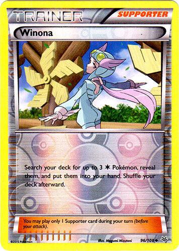 Uncommon Winona 1x Reverse Holo NM Pokemon Roaring Skies 96//108