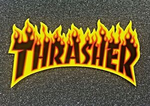 Thrasher Flame Logo Sticker Large Black Yellow