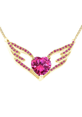 """Details about  /Pink Sapphire Angel Wing Pendant w//18/"""" Chain 10K Solid Gold"""