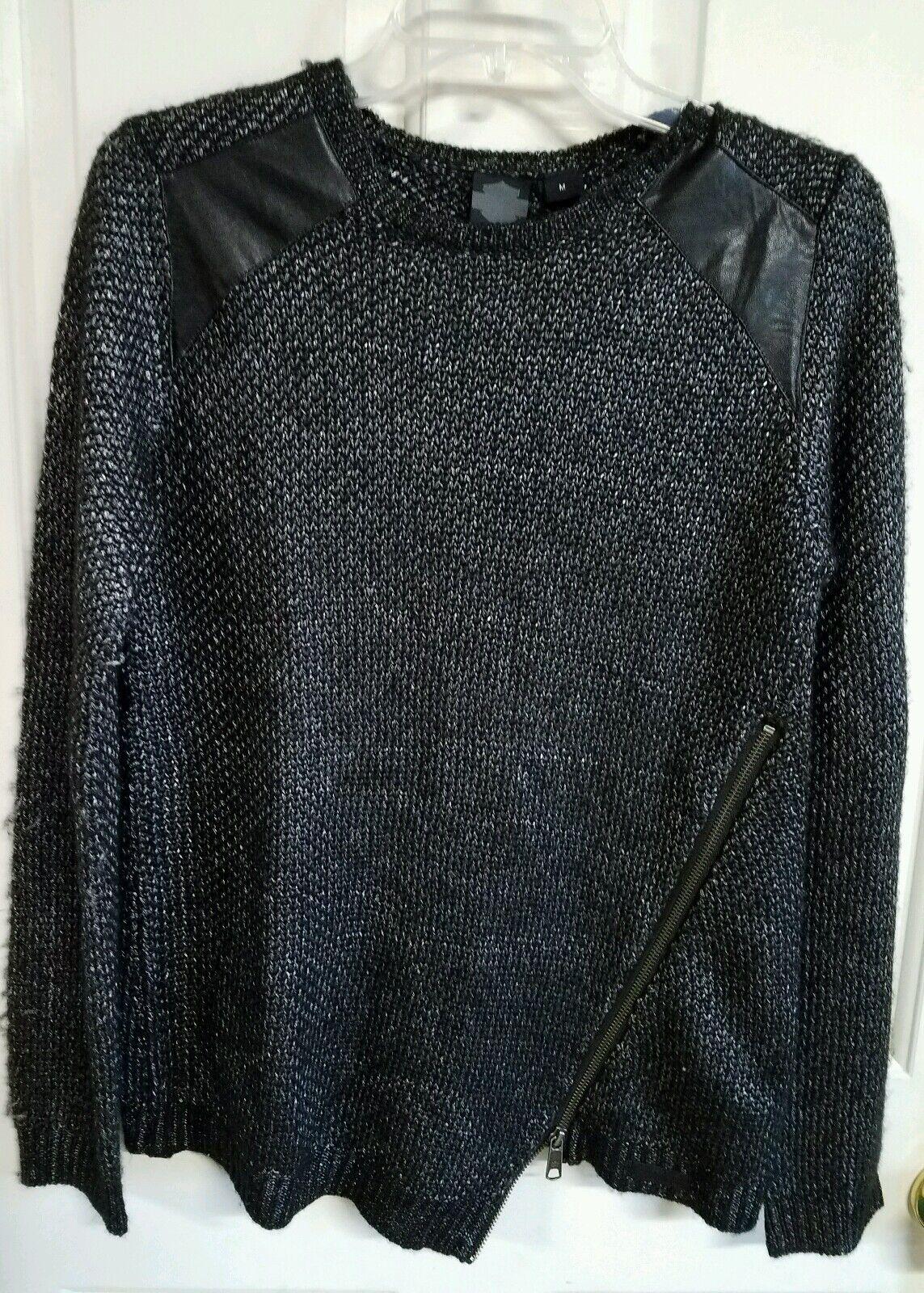 NWT Harley Davidson damen schwarz sweater, leather accent, Größe Med,