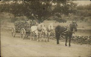 Horse-Drawn-Wood-Lumber-Wagon-Laconia-NH-Cancel-Real-Photo-Postcard
