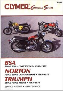 1963-1979-BSA-500-650-Norton-Commando-750-850-Triumph-CLYMER-REPAIR-MANUAL-M330