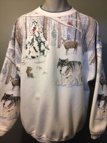 Vtg 80s 90s Wolf Sweatshirt Sweater Shirt Mens XL-