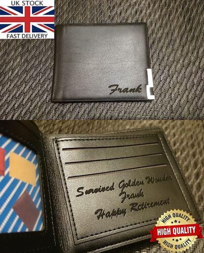 Laser Engraved Bi-fold Wallet Personalised Birthday Grandad Dad Retirement Gift