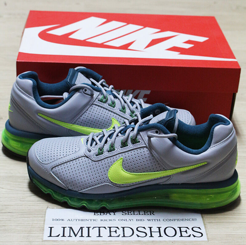 NIKE AIR MAX 2013 LEATHER WOLF GREY VOLT BLACK 599455-006 US 8.5 red 2014 2015