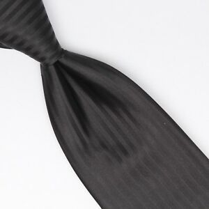 Gladson-Mens-Silk-Necktie-Solid-Black-Tonal-Stripe-Weave-Woven-Tie-Made-in-Italy