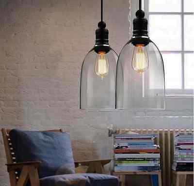 Vintage Industrial DIY Big Cover Ceiling Lamp Light Glass Pendant Lighting Cafe