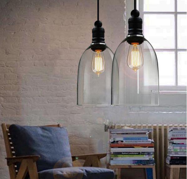 Vintage Industrial Bedroom Ceiling Lamp Light Glass Pendant Lighting Edison Bulb