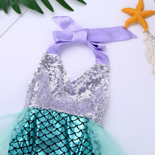 Mermaid Scales Toddler Baby Girls Halter Bodysuit Romper Jumpsuit Outfit Clothes