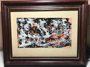 Asger-Jorn-1914-1973-Oil-On-Paper-Abstract-Rare-Collector-Stamp-Signed-1970