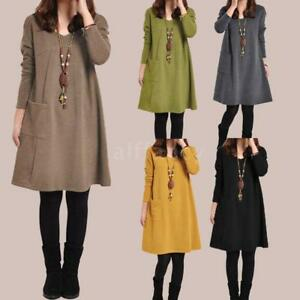 Women Winter Oversize Loose Tunic Dress Long Sleeve Baggy