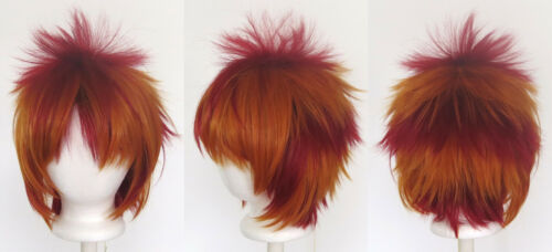13/'/' Spiky Short Crimson Red and Copper Brown Striped Synthetic Cosplay Wig NEW