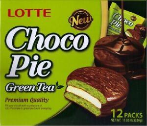 Lotte-Choco-Pie-Green-Tea-Korean-12x-BOX-Matcha-Chocolate-Covered-Cake-Dessert