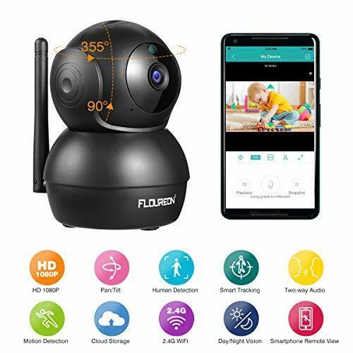 FLOUREON 1080P IP Kamera WLAN Überwachungskamera Pan//Tilt IP N816-schwarz