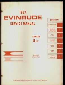1967 evinrude outboard 5hp angler service manual 5702 5703 ebay rh ebay co uk 1967 Johnson 40 HP Outboard Evinrude Fisherman 6 HP Outboard