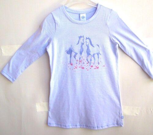140 UVP 25,95 € SANETTA Girl Camicia da Notte Bianco Blu chiaro Motivo Cavalli tg 104