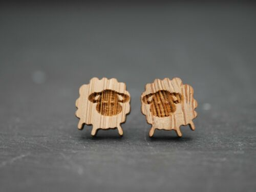 Schaf Lamm Ring Kette Armband  . Ohrstecker oder Clips mit echt Holz
