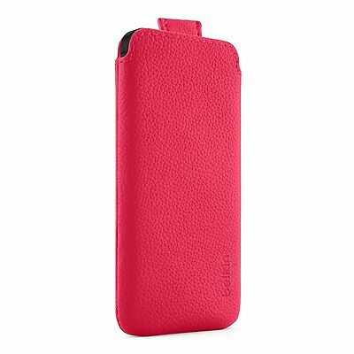 Genuine Belkin iPhone 5S 5C 5 & iPhone SE Leather Pocket Pouch/Case/Cover Pink