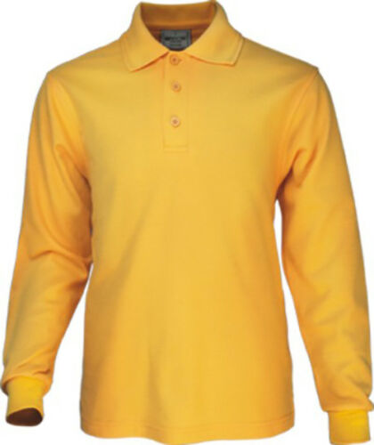 Kids Boy/'s Girl/'s Long Sleeve Plain Polo with Ribbed Cuff /& Anti Pill Fabric New