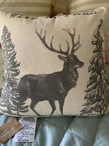 Envogue Holiday Reindeer Decorative Pillow 20 X 20 Toss Throw Pillow Deer Trees Ebay