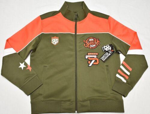 Smith /& Graham Track Jacket Men/'s Colorblock Embroidered Logo Olive Orange P090