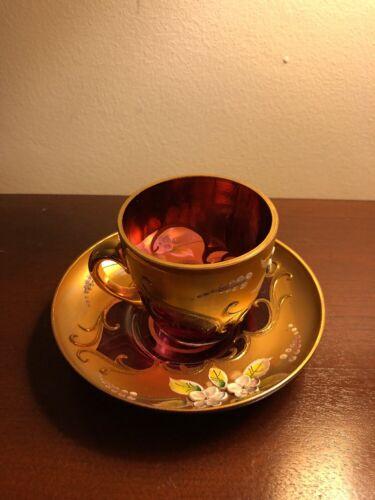 Vintage Bohemian Ruby Red Gilded Enamel Coffee Cup