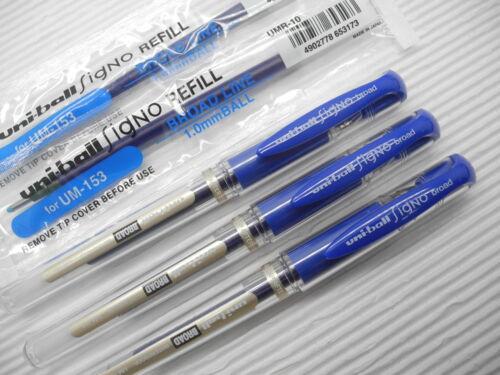 3 refill UNI-BALL UM-153 1.0mm broad roller ball pen with cap Blue 5 pen Japan