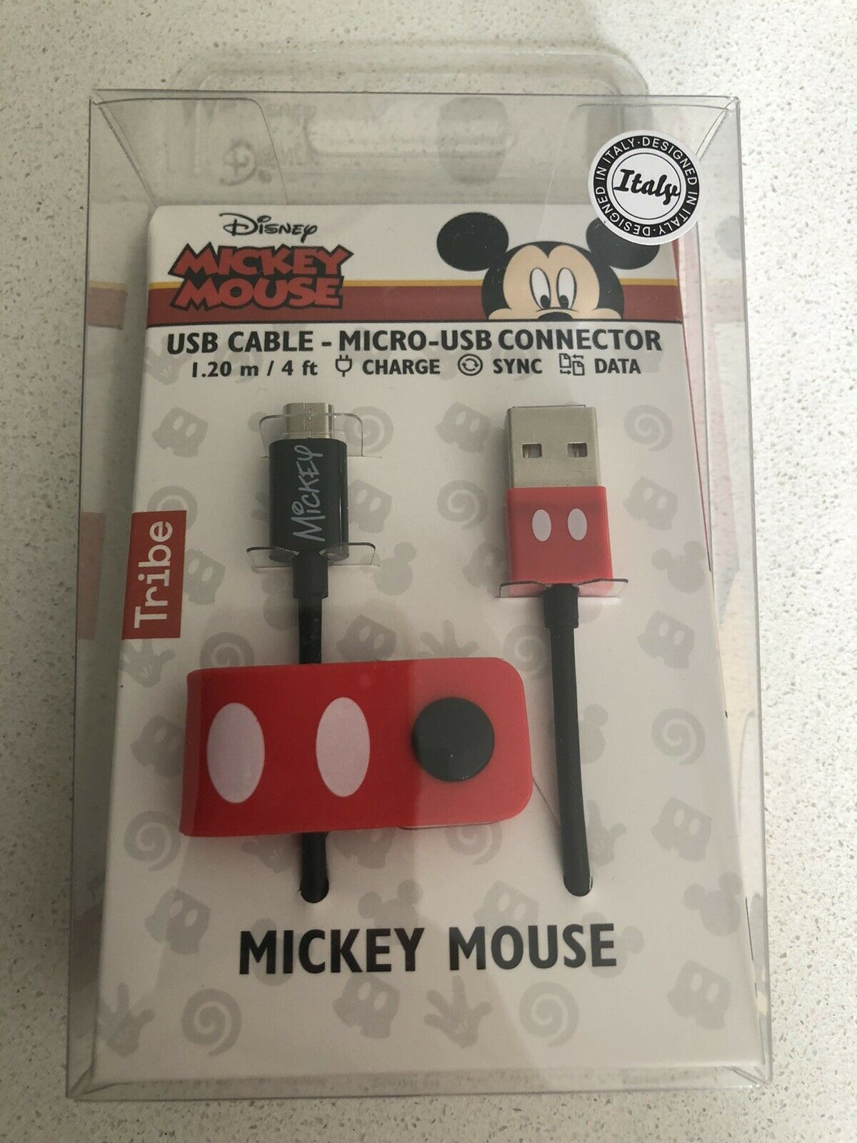 Mickey Mouse Disney USB Cable Micro USB Connector 1.20 M 4 Ft Charge Sync Data