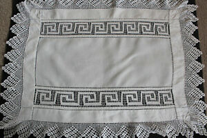 Vintage-white-linen-cloth-with-crochet-edge-and-Greek-key-pattern-insert