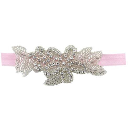 Floral Baby Girls Princess Headband Shiny Rhinestone Toddler Elastic Hair Band