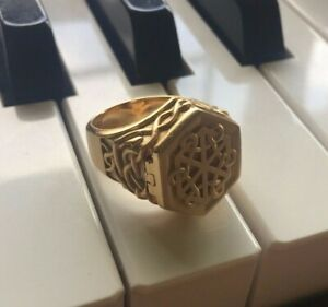 Solid-14K-Yellow-Gold-Mens-Celtic-Poison-Ring-with-Hidden-Stash-Compartment