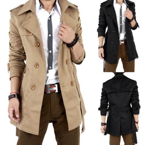 Men/'s Slim Winter Warm Overcoat Double Breasted  Trench Coat Long Jacket Outwear