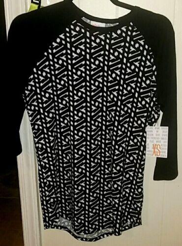 T shirt Xs Geometric White Womens Sleeves Randy Nwt Black Size Lularoe Top zwqcxTvnag