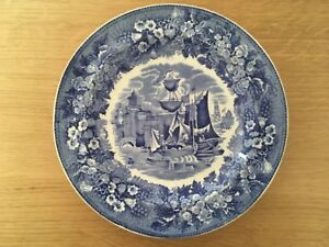 1-x-VINTAGE-WEDGWOOD-BLUE-amp-WHITE-FERRARA-SMALL-SIDE-PLATE-Lovely-Condition
