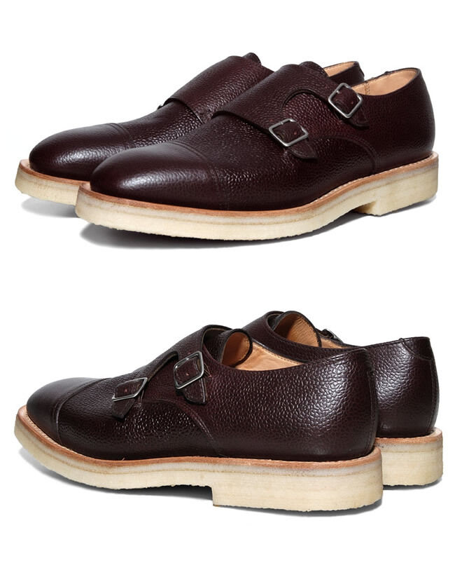 MARK MCNAIRY GRAIN LEATHER DOUBLE MONK STRAP scarpe US 12 MADE IN ENGLAND