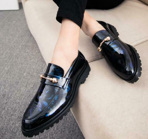 2019 Hot  Mens Metal Dacor Patent Leather Casual Slip On Oxfords Dress shoes