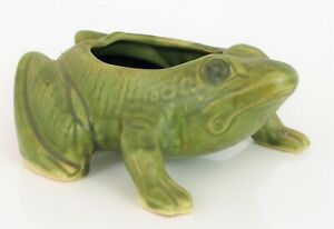VINTAGE MCCOY CERAMIC BULL FROG PLANTER BEAUTIFUL GREEN HAND PAINTED GARDEN !