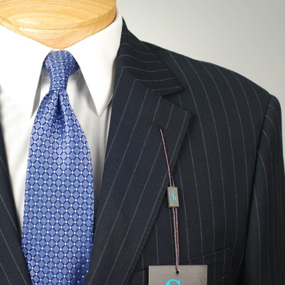 42R STEVE HARVEY Navy Striped Suit - 42 Regular Mens Suits - SH04