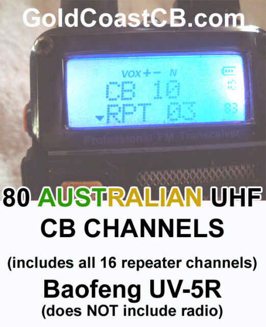 Australian UHF CB 80 Channels to suit Baofeng UV-5R