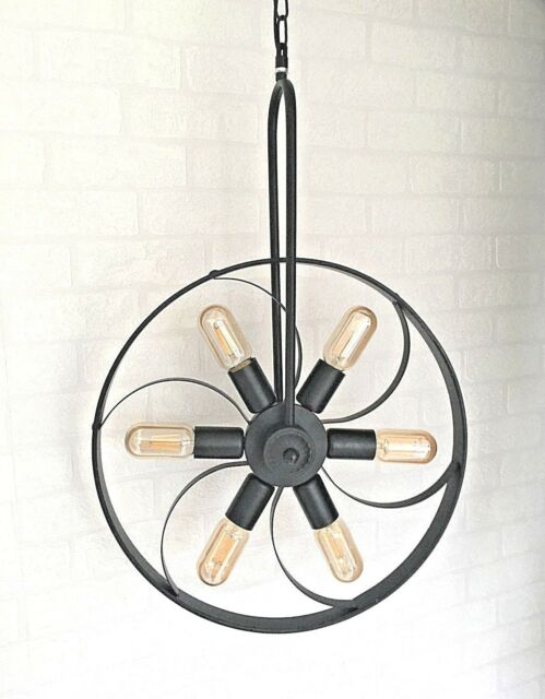 Vintage Industrial Retro Rustic Wheel Propeller Ceiling Loft Bar LED light