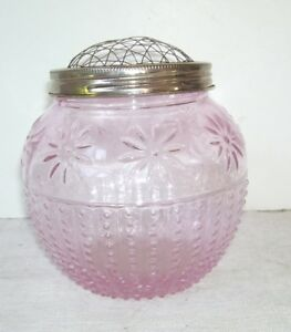 ASPO-Pink-Glass-Flower-Vase-with-Metal-Mesh-Lid-Daisies-Beaded-Sides