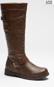 Donna-Alto-Stivali-Biker-doppia-fibbia-marrone-nero-3-4-5-cerniera-interna-Boot